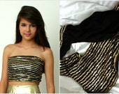 Black and Gold Sequin Halter Tube Top - Long Opera Scarf