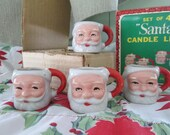 Set 4 Santa Candle Lites Original Box Japan,Mini CupsChristmas Holiday Decor,Vintage Christmas, County Cottage Home Living, Vintage Glamping