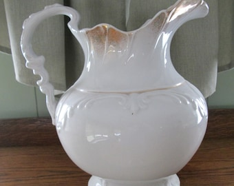 Large 19th Century Etruria & Mellor Co. White Ironstone China Water Pitcher Etruria  Mellor Co. Farmhouse Country Cottage French Country