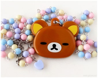 Fairy Kei, Pastel Rilakkuma Mirror Necklace - Street Fashion, Kawaii Jewelry