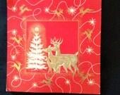 Vintage Holiday Christmas Greeting Card Set - Deer Family Tree Lot of 20