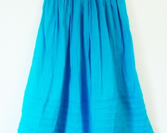 Mexican Blue Skirt Comfortable and Elegant Resort Elastic Sizes Long / Short