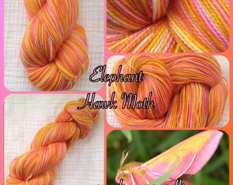 Fingering/Sock Hand Painted yarn 438 yds  RTS - Elephant Hawk Moth™