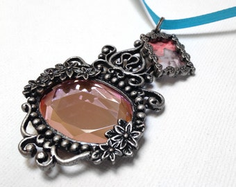 Memorial Photo Charm, Wedding Bouquet Jewelry - Antique Silver Pink Faceted Mirror w Photo Frame Charm - Includes Printing Service