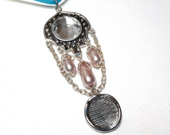Memorial Photo Charm, Wedding Bouquet Jewelry - Pale Pink Fancy Pendant with Silver Photo Frame Charm - Includes Printing Service