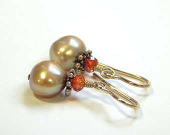 Champaigne Pearl Earrings and a Swarovski Crystal in Sterling