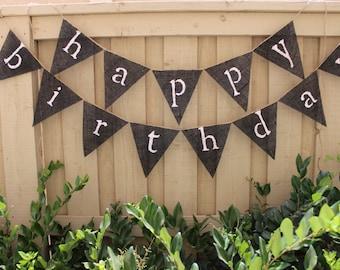 happy birthday dave black burlap banner