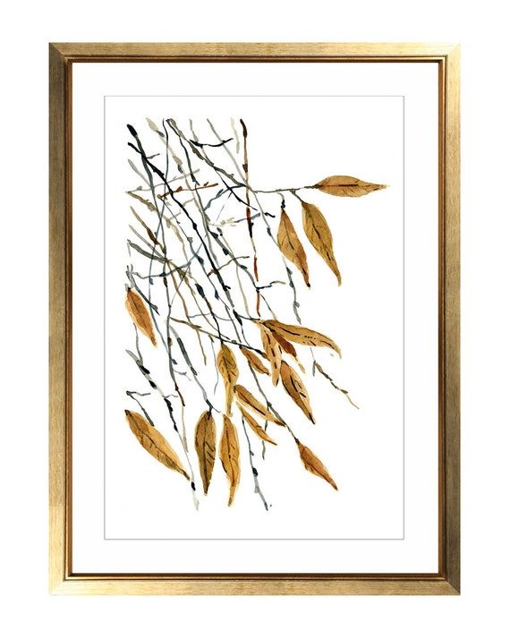 Falling Leaves Wall Decor : Falling leaves art print watercolor painting by thejoyofcolor
