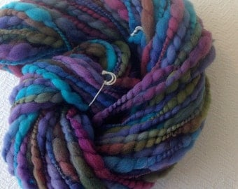 Handspun Thick and Thin Art Yarn thread plied 59 yards teal turquoise purple hot pink green