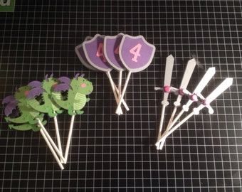 Knight/Prince Cupcake Toppers - party decorations, birthday supplies