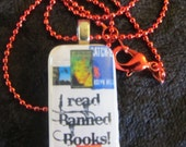 I Read Banned Books on a Little Travel Size Domino Necklace