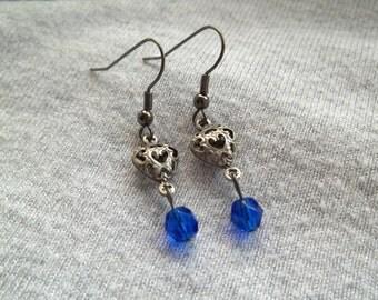 Heart Earrings, Crystal Earrings, Blue Glass Crystal, Gunmetal Silver Earrings