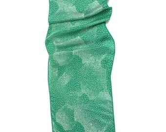 DIANE VON FURSTENBERG vintage scarf * green + white hand rolled * designer AC075