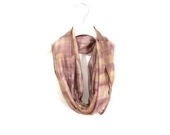 Brown Silk Scarf Infinity Scarf Gift for Her Circle Scarf Fall Scarf Summer Scarf Lightweight Scarf Sari Scarf Upcycled Scarf Eco Fashion