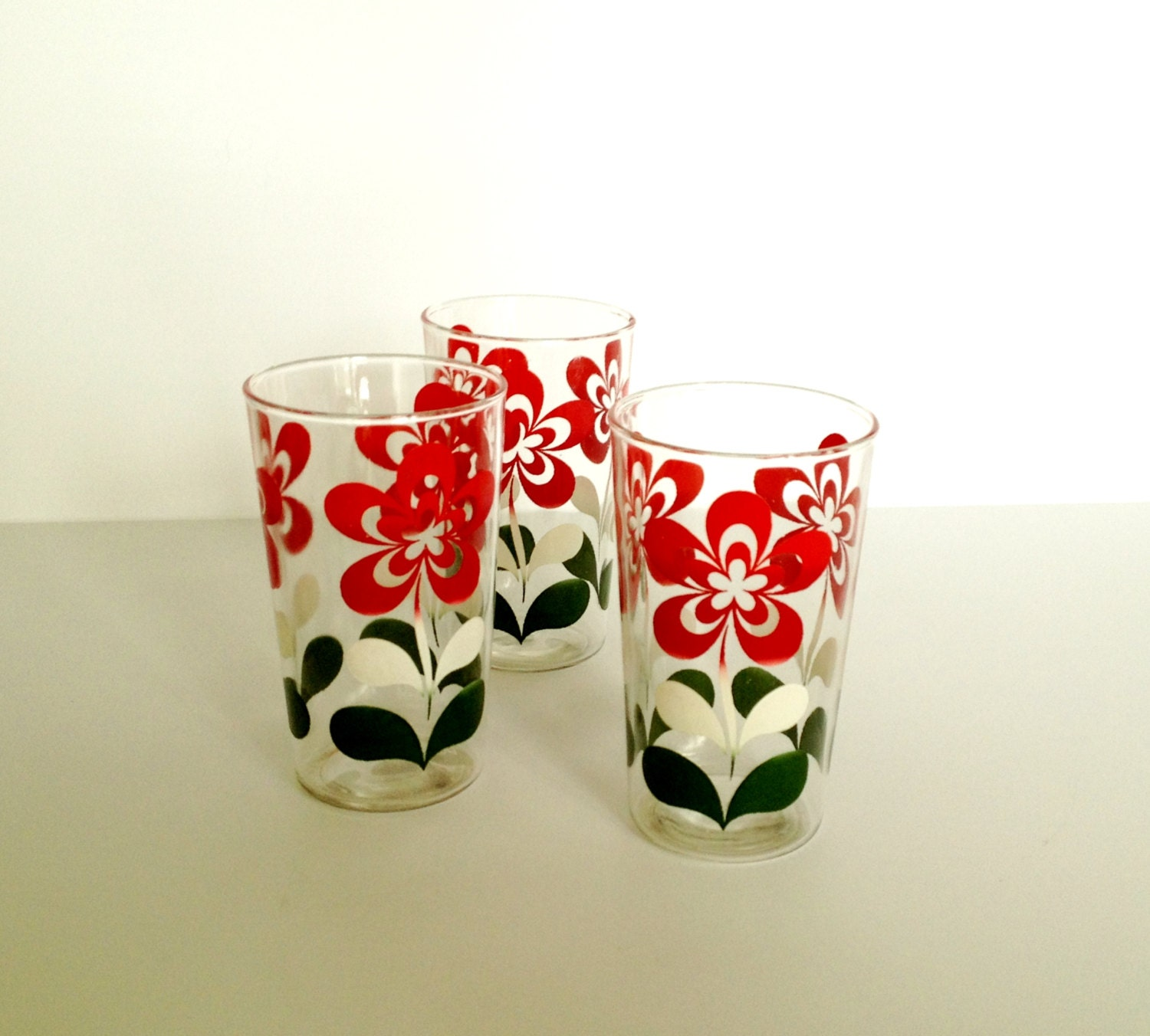 Set Of THREE Vintage Fun Flower Pattern Drinking Glasses In