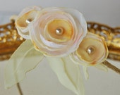Ivory yellow and white fabric flowers headband on lace wrapped metal headband . 8 year old to adult Ship ready - ooak
