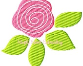Rose Bud Machine Embroidery Mini Design