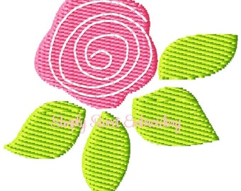 Rose Bud Machine Embroidery Mini Design