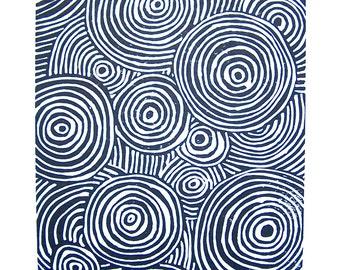 LINOCUT PRINT - geometric swirs - black circle rings block print 8x10 poster