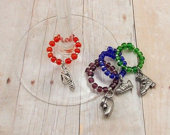 Wine Glass Charms - Footwear Theme 4-Piece Set - Tennis Shoes - Flip Flops - Ski Boots - Slippers - Baby Bootie