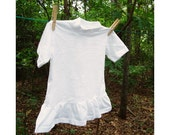 Ruffled T Sz 2 White, Vintage Plain White, Blank for Dye, PFD, Prepared for Dye, Girls Tee Shirt T Shirt