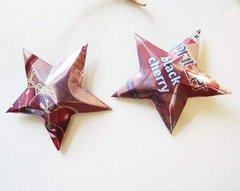 RW Knudsen Black Cherry or Mango Fandango , Christmas Stars, Ornaments Soda Can Upcycled Repurposed, Unique Gift Bow, Package Tie-on,