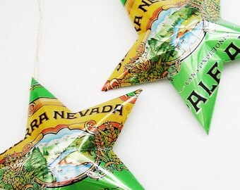 Sierra Nevada Pale Ale  Beer Stars Ornaments Aluminum Can Upcycled