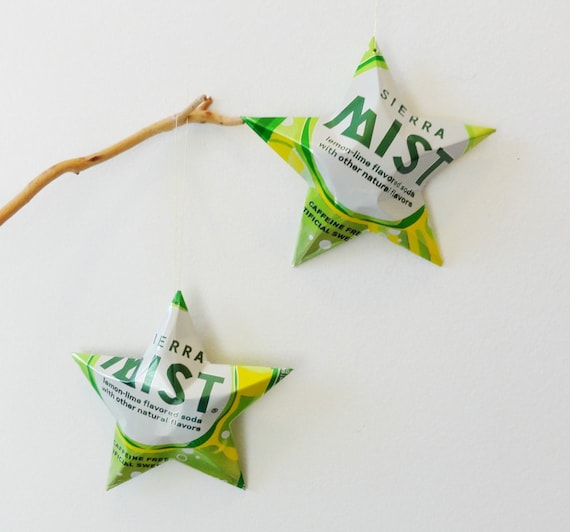 Sierra Mist Stars Ornaments, Set of 2- Soda Can Upcycled