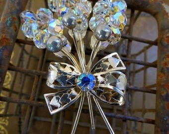 Timeless Vintage Brass and Crystal Brooch (Pin)