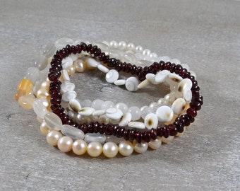Light and Love Stack of gemstone yoga bracelets - pearl, moonstone, shell and garnet