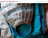 BLACK FRIDAY Ring Sling Baby Carrier Double Layer Dupioni Silk Pleated - Silver and Turquoise - READY To Ship