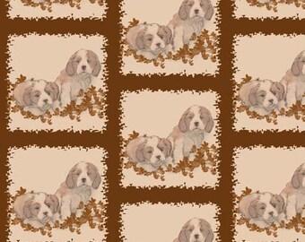 Cavalier Spaniels in sepia tones cotton fabric