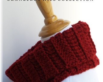 SALE!!! Outlander inspired red cowl neck warmer. Acrylic. Warm soft and thick.  crocheted. Made in America. Ready to Ship
