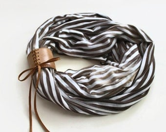 Infinity Scarf, Chunky Loop Neck Warmer, Unisex, Brown EcruStriped Combed Cotton, Circle Cowl Collar, Soft, Cozy, Handmade