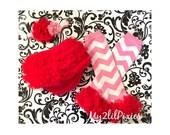 3 piece set Baby Girl Headband-Chiffon Ruffle Bum Baby Leg warmers , Valentines Day-Photo Prop- My2lilPixies