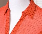Retro Burnt-Orange Polka Dot Blouse Shirt
