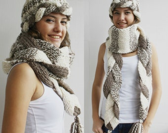 Handknit Wool Brown and Cream Warm set LOng Scarf // Cute Hat For Women For My Mom  perfect Christmas Gift