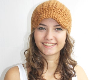 Light Brown Crochet Brimmed Hat Wool Hat Beanie Christmas Gift For Her