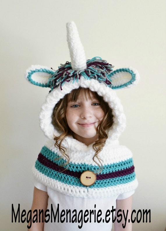 Unicorn Hat Unicorn Hoodie Unicorn Cowl by MegansMenagerie