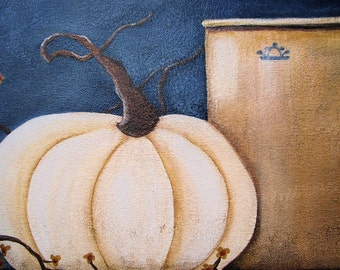 White Pumpkin, and Crock Painting on Canvas, with Bittersweet, On a Wood Cupboard