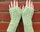 Apple Green Hand Knitted Cable Design Fingerless Gloves - Naturally Dyed Merino Wool - Womens Organic Fall Accessory - Ready to Ship