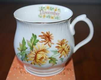 vintage floral bone china mug - November Birth Flower - Yellow Chrysanthemum - Still in Box