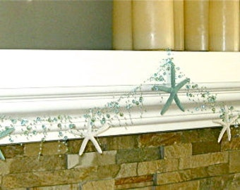 Beach Decor Starfish Garland - Aqua Beads with real Starfish - Natural White and Green Painted Starfish