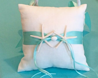 Beach Wedding White Linen Ring Bearer Pillow with Blue Ribbon and Starfish or Sand Dollar
