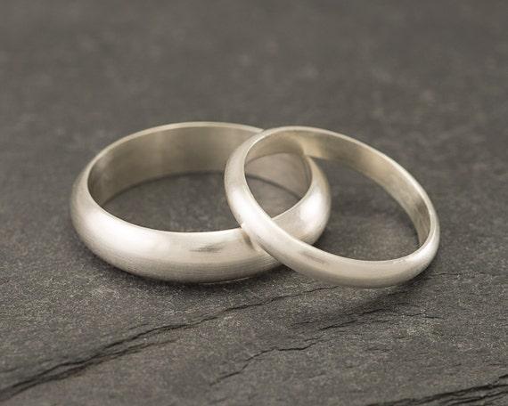 Wedding Band Set- Brushed Wedding Rings- Sterling Silver Wedding Bands- Wedding Ring Set- Silver Ring Band- Brushed Wedding Band