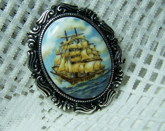 Tall Ship Pendant Brooch & Necklace - Schooner Pirate Ship Sailing Ship Nautical Steampunk - Antiqued Silver - Clipper Ship Cameo