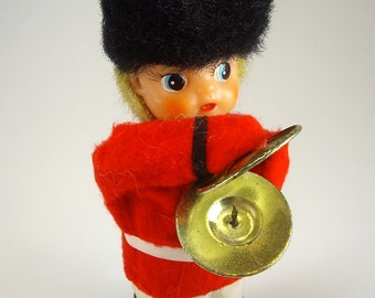 Free Shipping, Windup Marching Soldier, Yonezawa,  Marching Band, Clapping Symbols, Tinplate Toy, Christmas Home Decor, Mid Century Toys