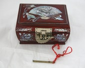Brown Korean Formica Jewelry Box With Abalone Inlay Design