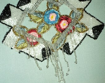 1920s Antique Beaded Applique Silk Ribbonwork Beaded fringe Black and White Gatsby Antique restoration project, lampshade, clothing, etc