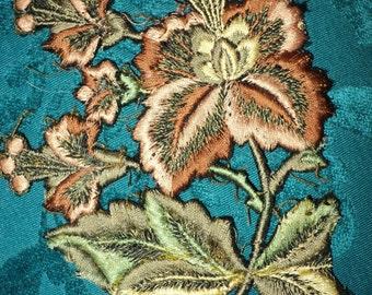 Antique 1920s Floral Applique Silk Metallic threads Lampshades, Pillows, Clothing restoration